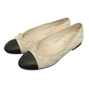 Chanel white ballerina cloth flats